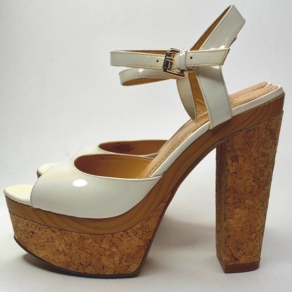 Nine West Big Baby White and Cork Heel Platforms